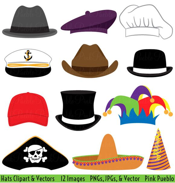 8632b0f2448e7 Check out Hats Clipart and Vectors by PinkPueblo on Creative Market ...