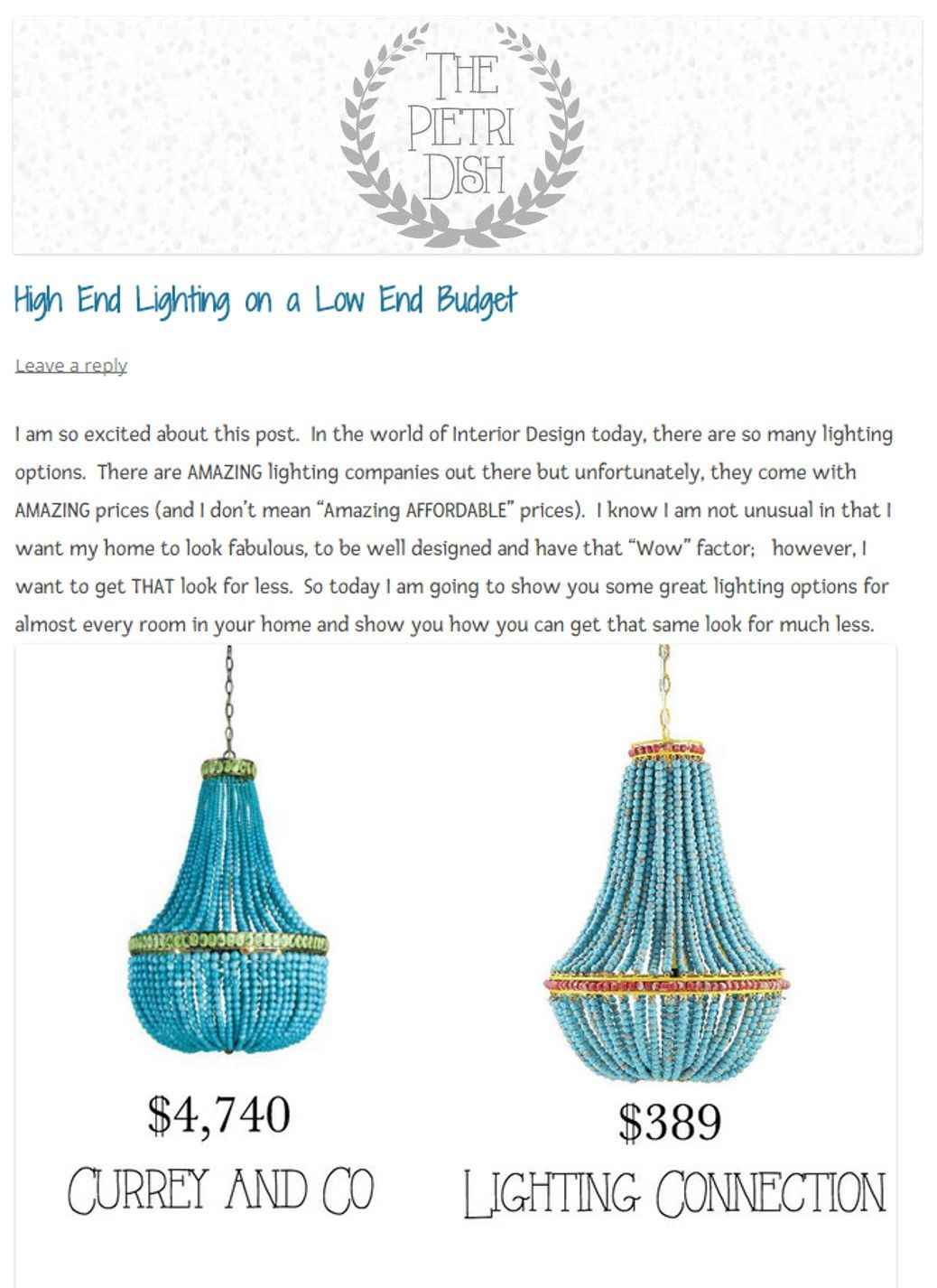 Blue Beaded Chandelier | l i g h t i n g | Pinterest ...
