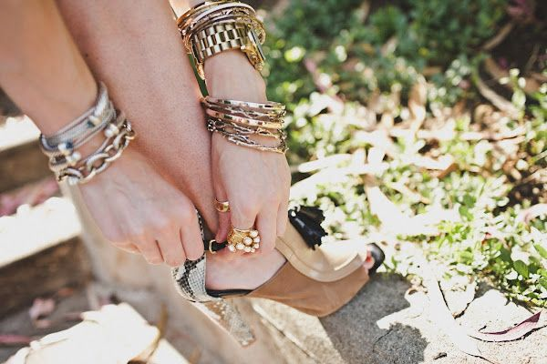 python shoes + gold jewelry