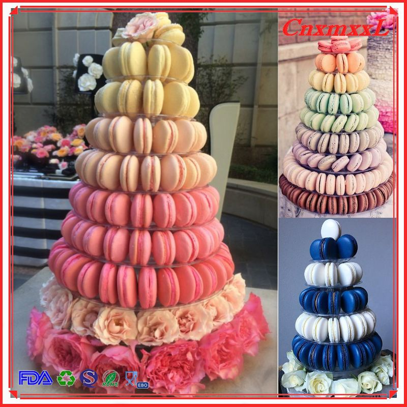 Nice 10 Tier Plastic Macaron Tower With Acrylic Base For Macaron Display Festival Party Macaron Tower Party Supplies