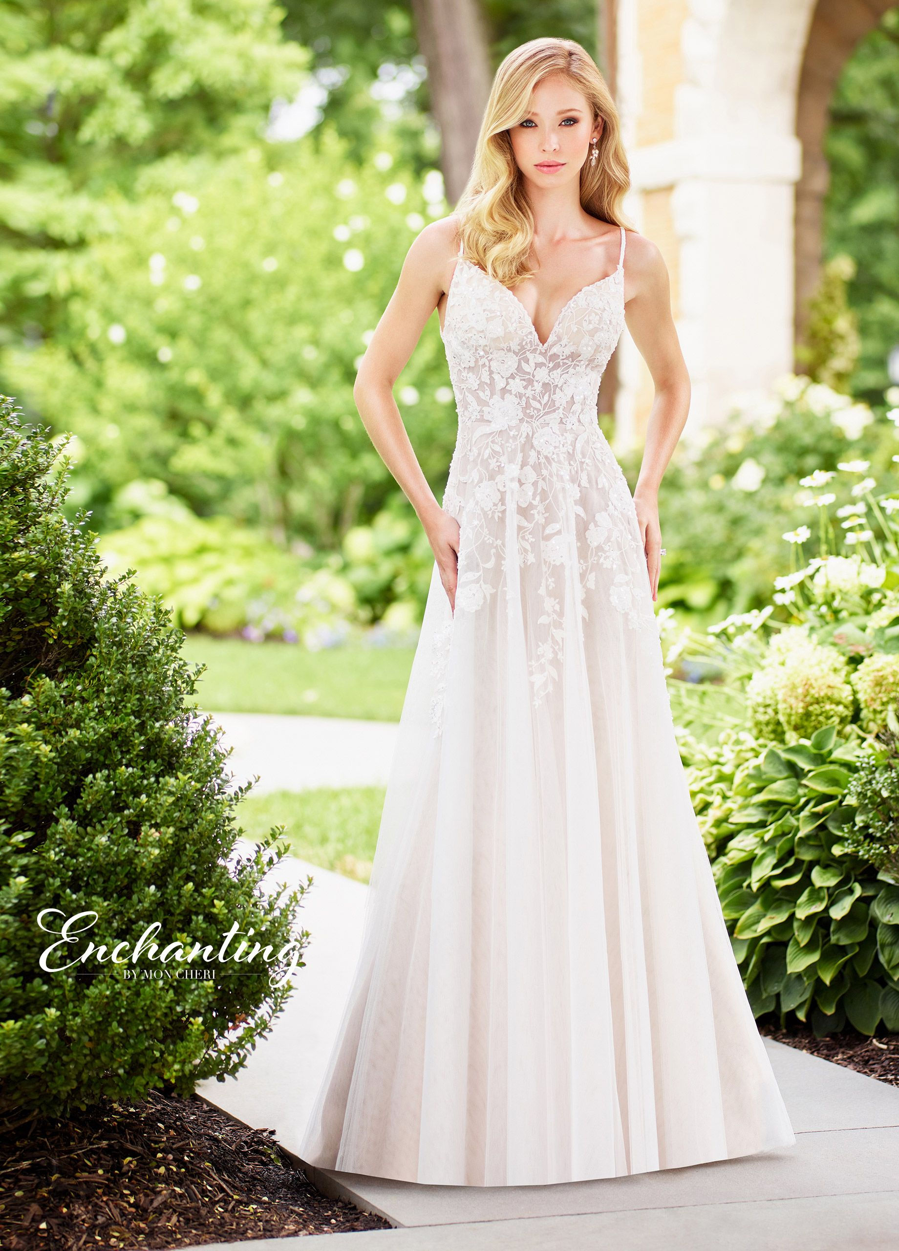 Tulle Sequin Lace A Line Wedding Dress With A Dropped Waist