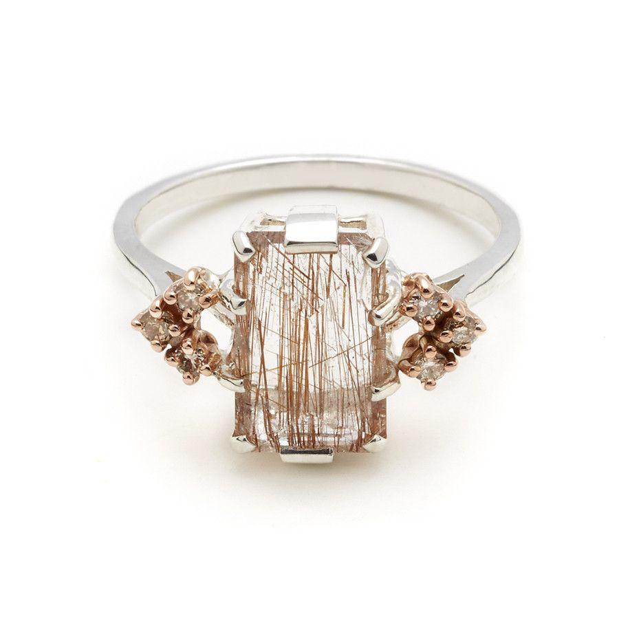 Bea Arrow Ring Large Copper Rutilated Quartz Champagne Diamonds Alternative Engagement Rings Champagne Diamond Rutilated Quartz Ring