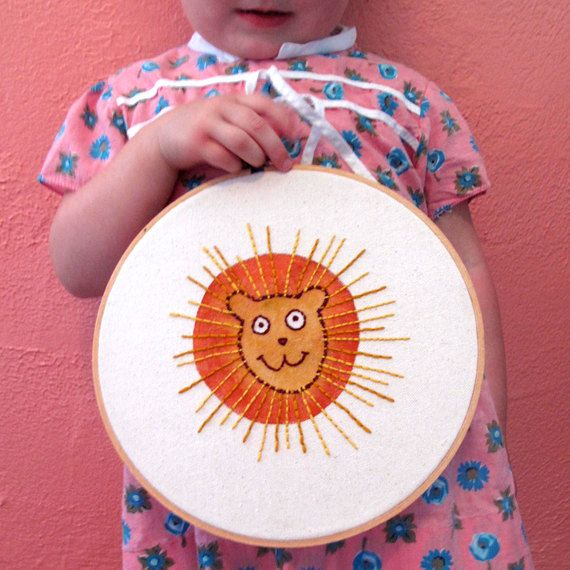 Julz Nally - Hand painted and Embroidered Happy Lion. $75.00, via Etsy.