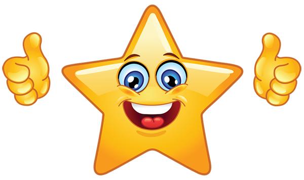 Star Emoticon Showing Thumbs Up Star Emoticon Smiley Star Emoji