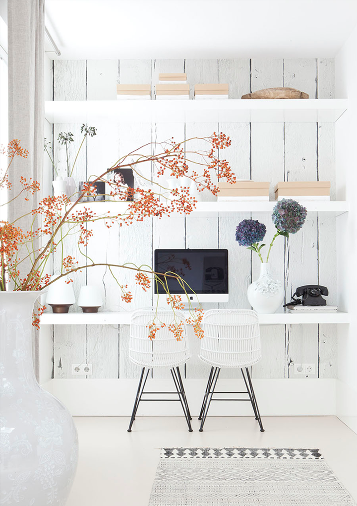 white washed wall behind desk white office room Home Decorating Trends