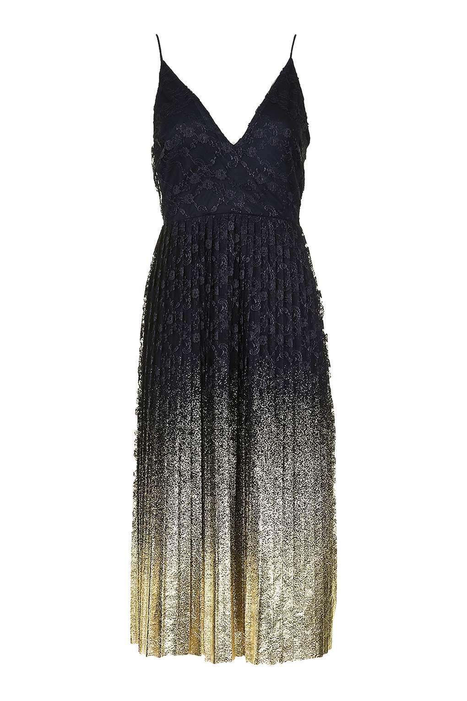 f851bed789a Foil Hem Plunge Neck Midi Dress - Dresses - Clothing - Topshop USA ...