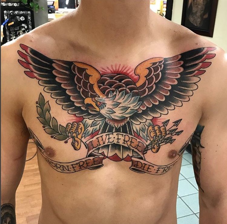 Pin By Jas White On Tats With Images Eagle Tattoo Chest Tattoo Men Chest Tattoo