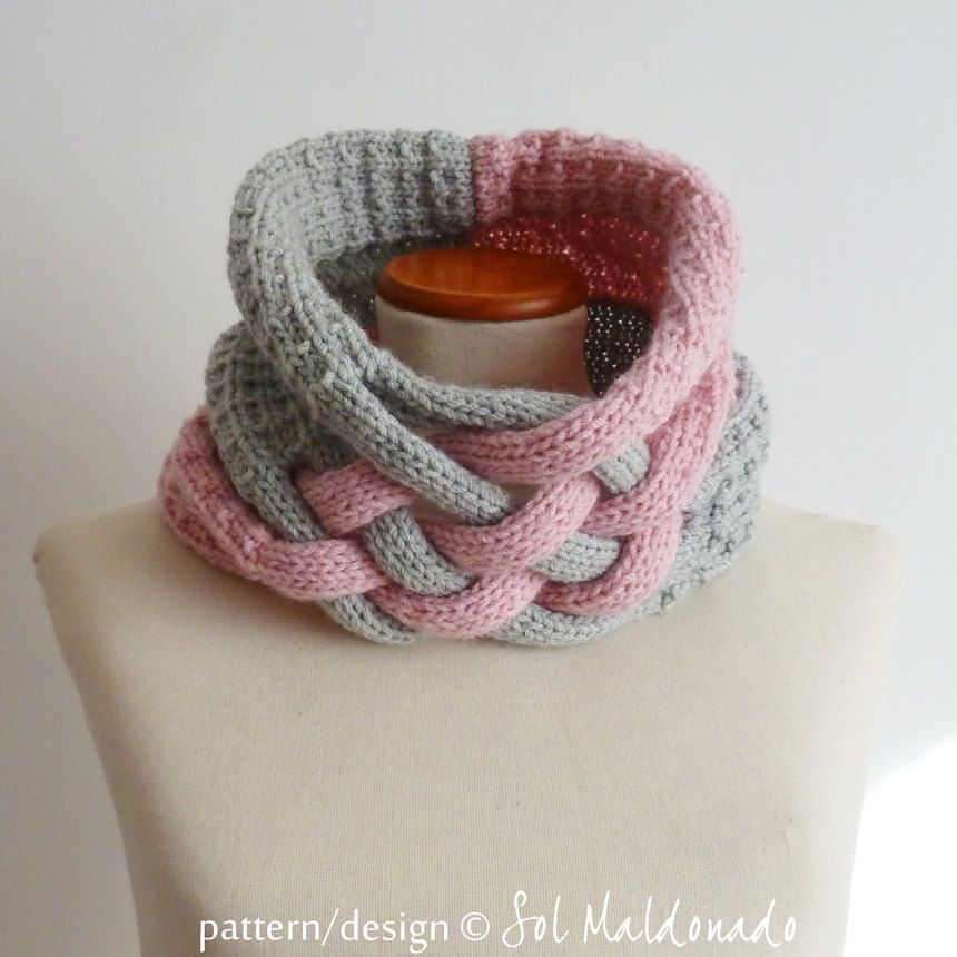 Cowl Knit Pattern - Weave scarf cowl neckwarmer - Instant DOWNLOAD ...