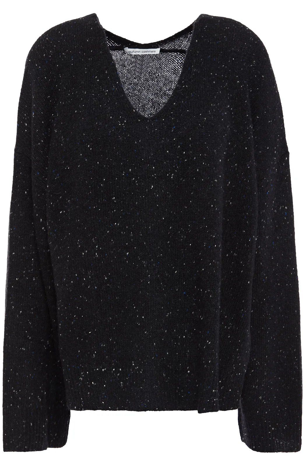 Autumn Cashmere Donegal Cashmere Sweater – Black / XS