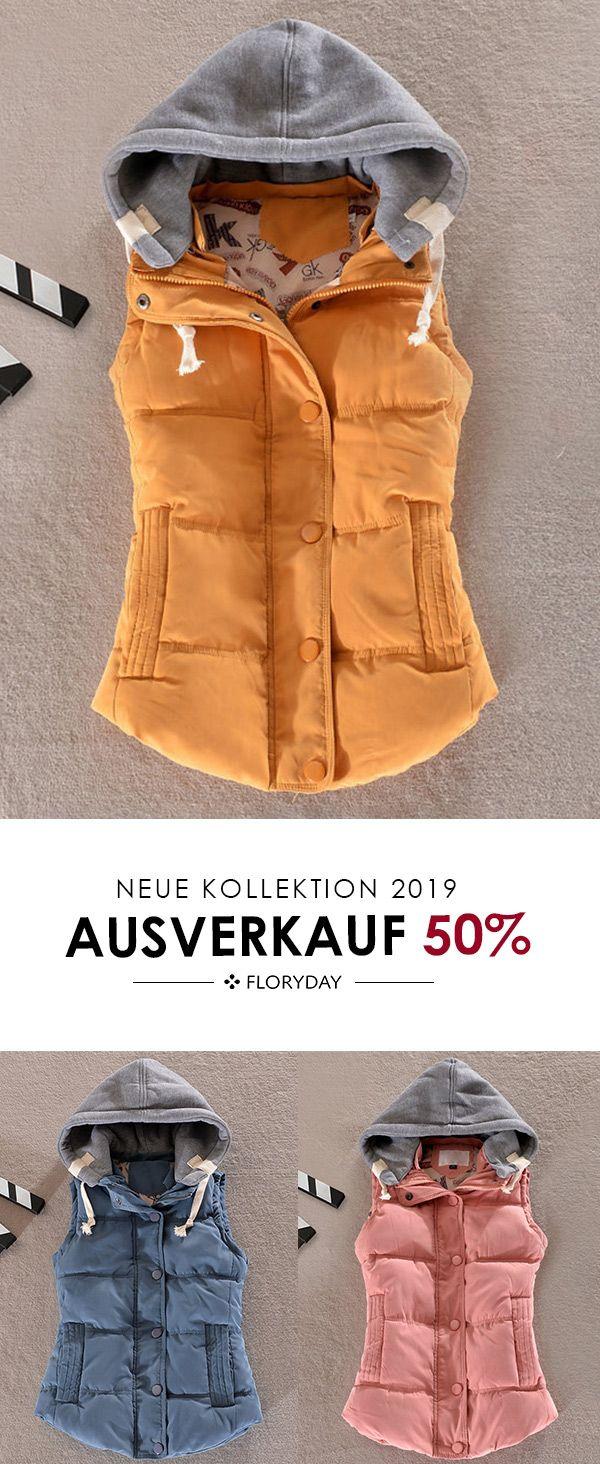 Ärmellose Kapuzentaschen Jacke mit Kapuze #kleidersale