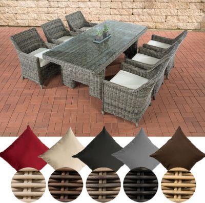 Poly-Rattan Gartenmöbel Sitzgruppe SANDNES (6 Stühle + Tisch 220 x - sitzgruppe im garten gartenmobel sets