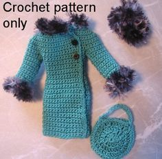 Crochet pattern (PDF) for Silkstone Barbie doll 1960s Winter set 3 pieces Coat hat purse #crochetedbarbiedollclothes