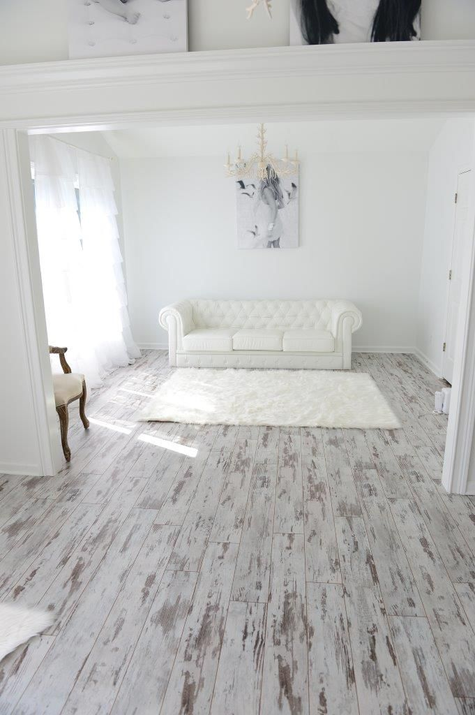 Inhaus Urban Loft Whitewashed Oak Laminate Flooring - Photo compliments  Karen R.