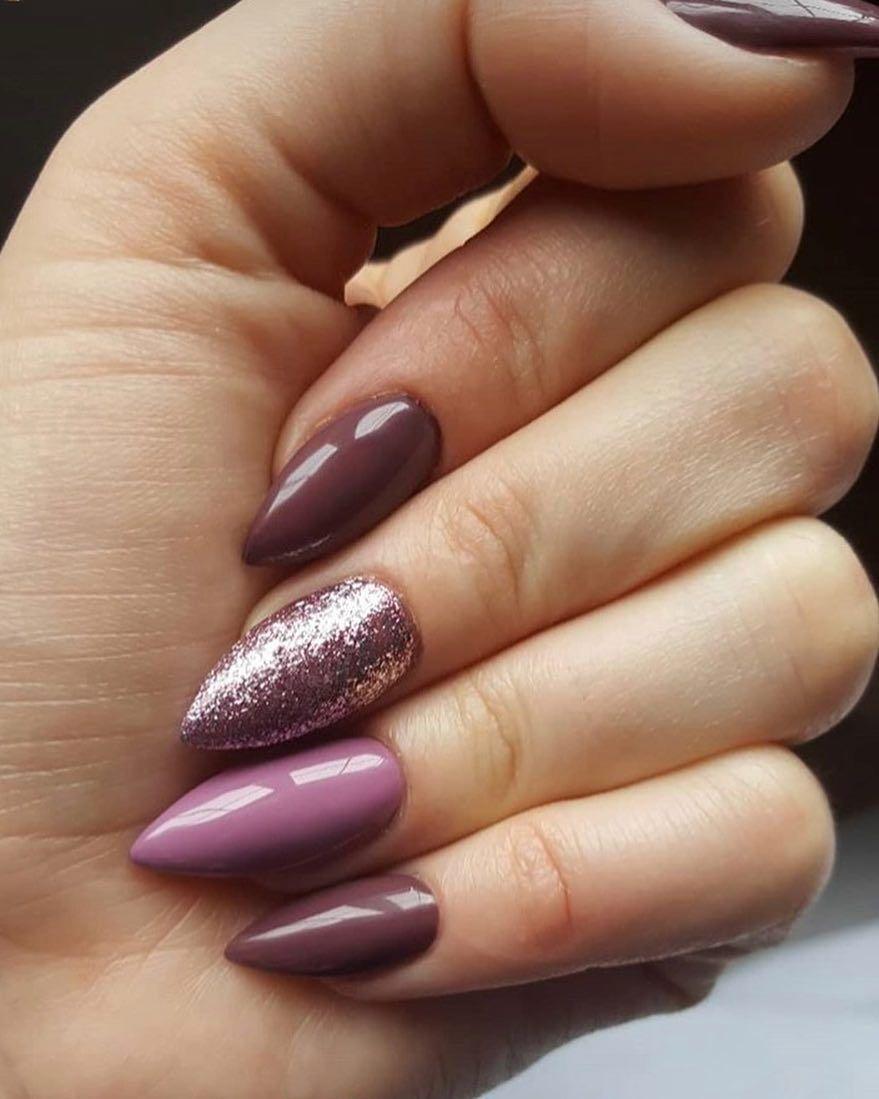 Mix-matched purple nail art design