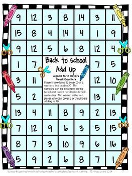 Back To School Math Games Freebie Free Math 1st Grade Math Games Math Games