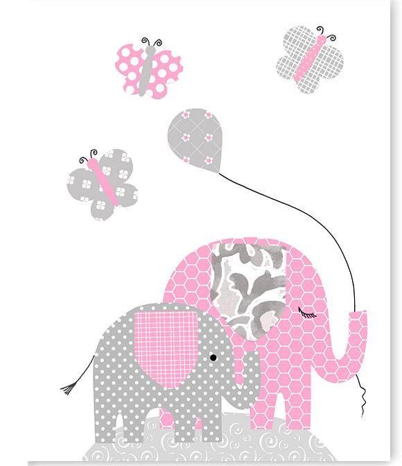 Vivero de elefante color de rosa y gris por for Decoracion habitacion nina gris y rosa