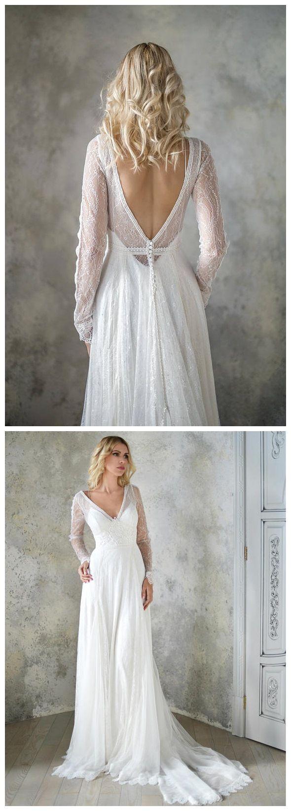 Long sleeve ivory lace beach wedding dresses backless boho wedding