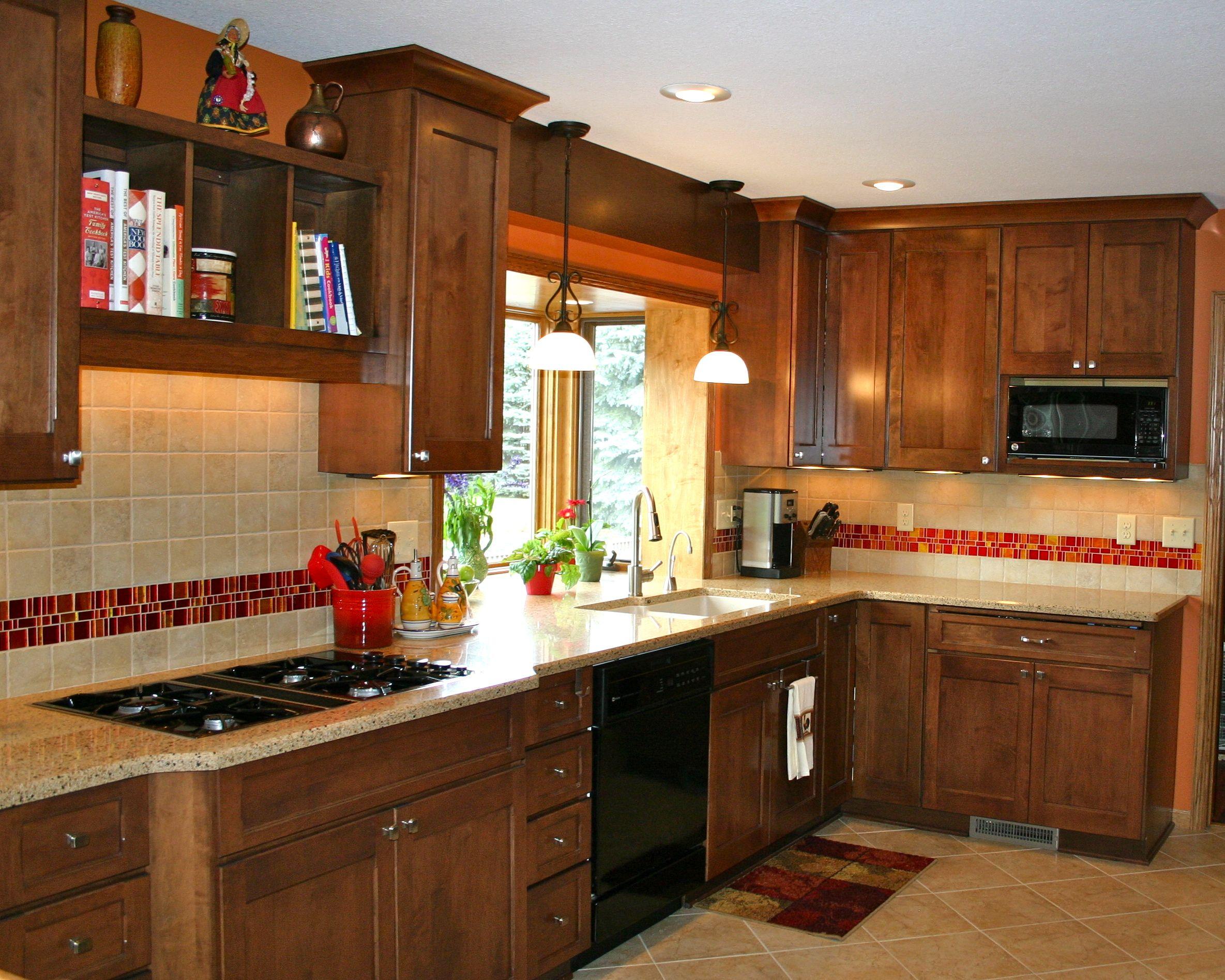 Love the red tile backsplash accent  Kitchens  Kitchen
