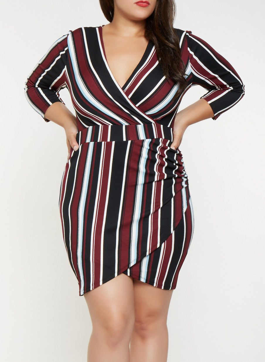 Plus Size Striped Faux Wrap Dress - Red - Size 2X | Products