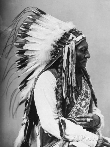 Portrait Of An American Indian Chief Photographic Print At