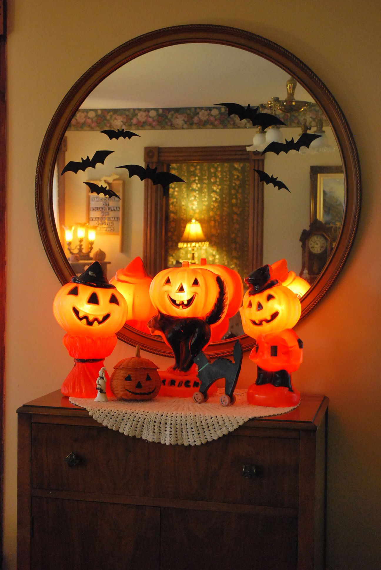 A Vintage Lighted Plastic Pumpkin Collection Vintage Halloween Decorations Halloween Lights Vintage Halloween