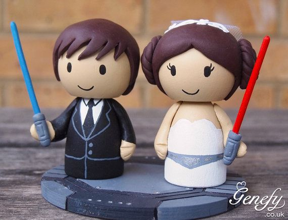 Cute Wedding Cake Topper  Bride and Groom with by GenefyPlayground, £108.00 way too expensive but love it.