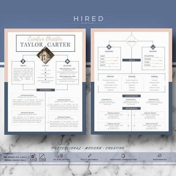 creative modern cv resume design for ms word pages template taylor instant download templates curriculum vitae cover letter matching cover