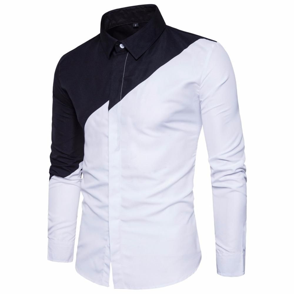 Mens cotton black white stitching color long sleeve shirt mens