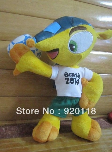 Free shipping 2014 world cup Brazil tricolor armadillo doll Brazil Fuleco mascot armadillo doll christmas gifts for kids $19.99