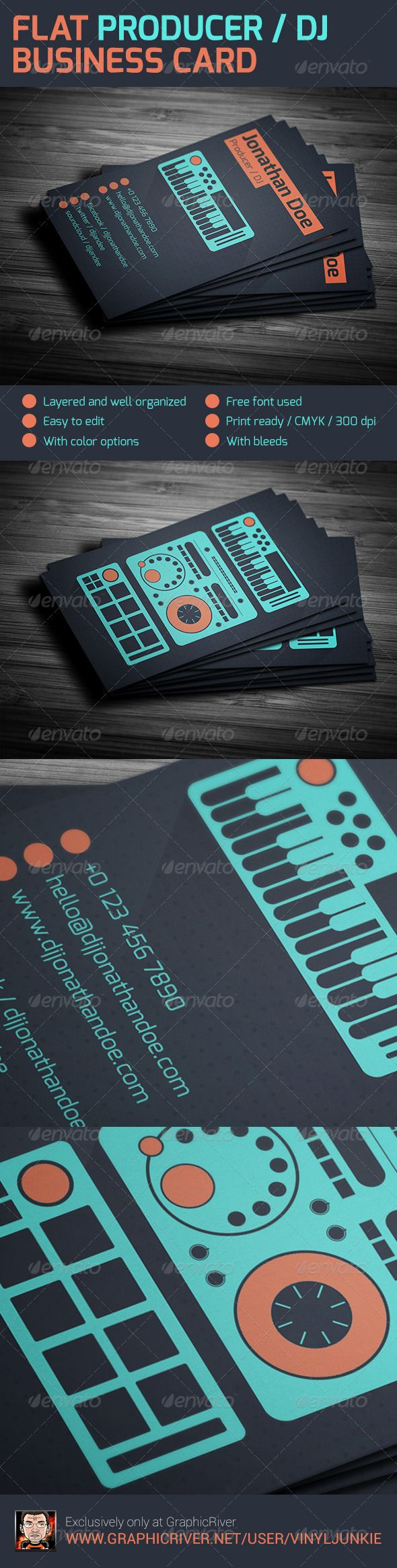 Flat producer dj business card dj business cards business cards flat producer dj business card by vinyljunkie business card template for professional dj and producers fbccfo Choice Image
