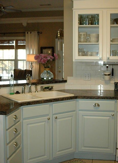 blue cabinets,white cabinets,subway tile. kitchen | Kitchens ...