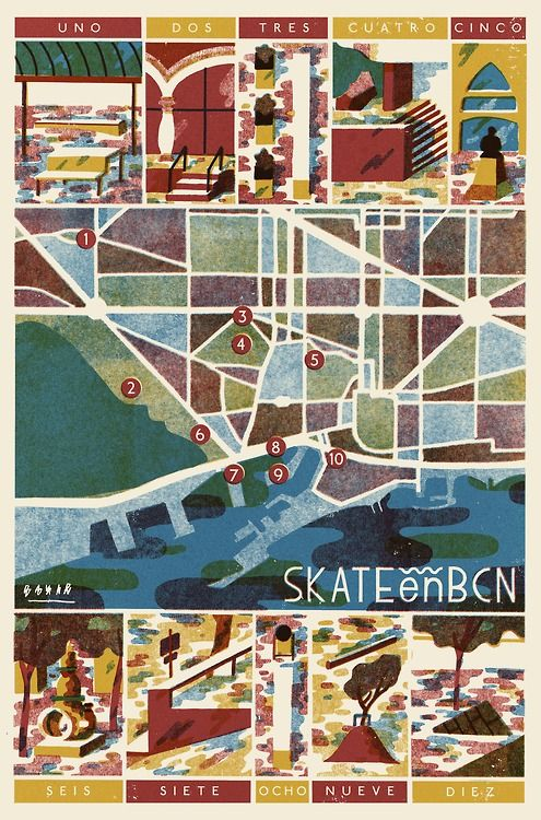 A map of well-known skateboarding sites in Barcelona, by David Doran.
