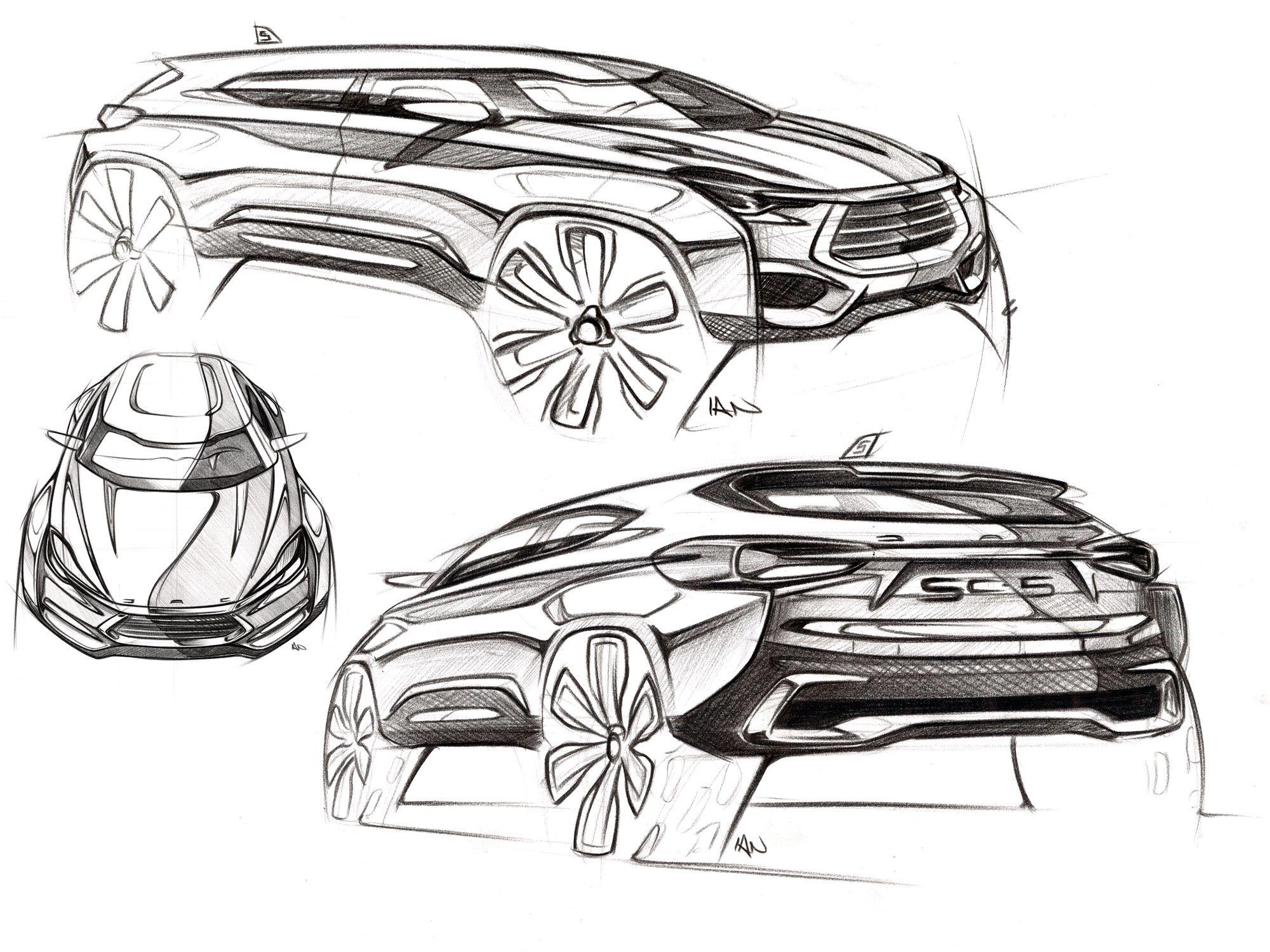 JAC senior designer Ian Gray's exterior sketches of the SC