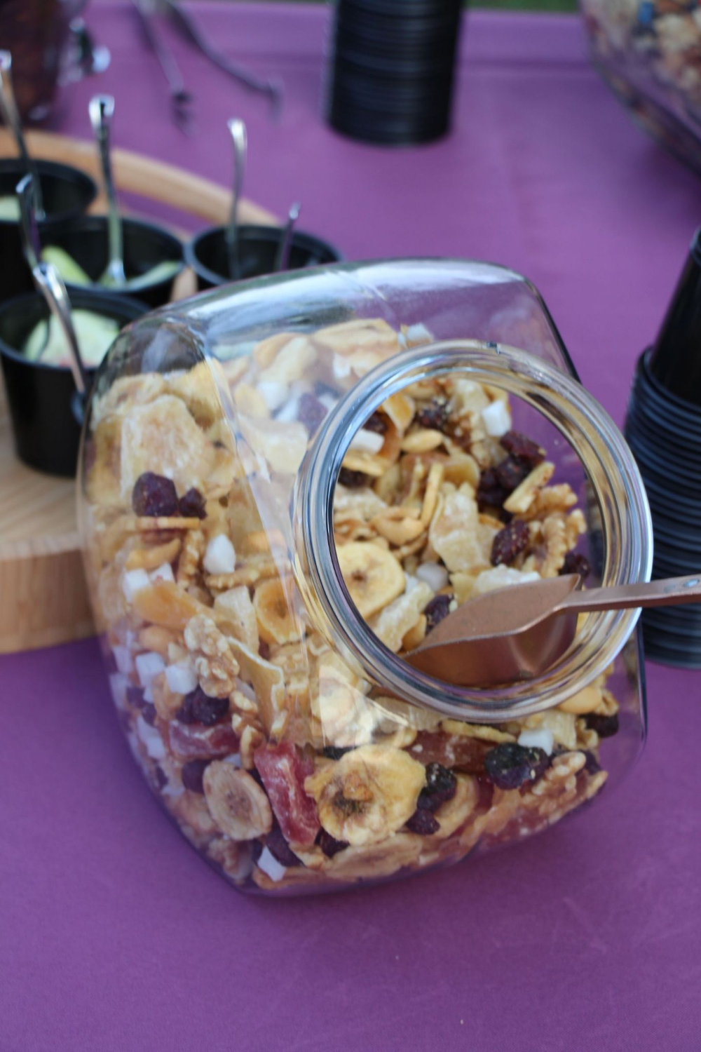 glass containers can be used for trail mix bar or smores or other food service items Khimaira Farm rezepte selber machen mix mix bar mix bar wedding mix recipes mix recip...