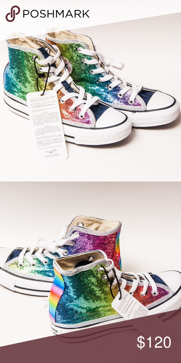 f766ac2f19e5 Spotted while shopping on Poshmark  Converse Rainbow Sequin Multi Color Hi  Top Sneaker!  poshmark  fashion  shopping  style  Converse  Shoes