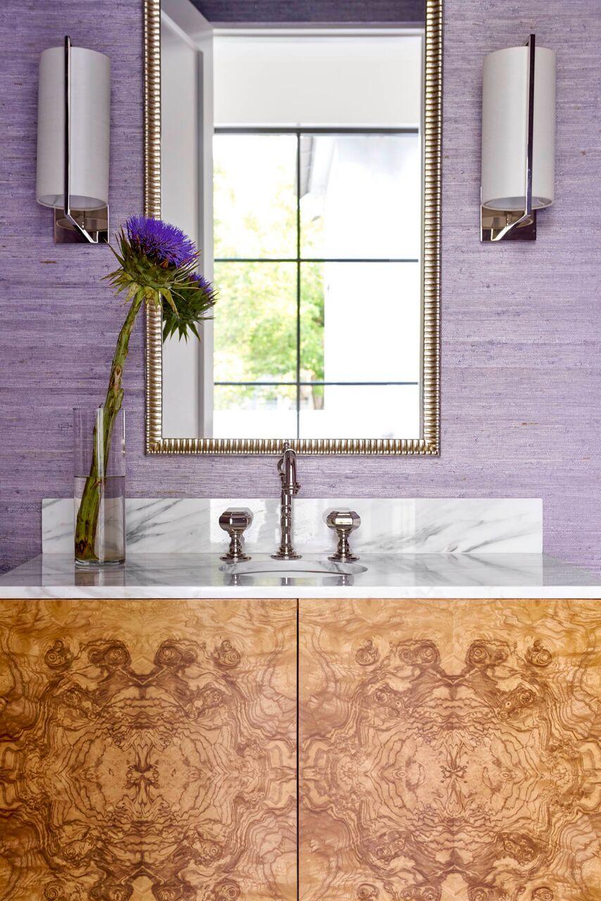 Contemporary Whimsy Bathroom Design By Collins Interiors |  Collins Interiors.com | Burl Vanity