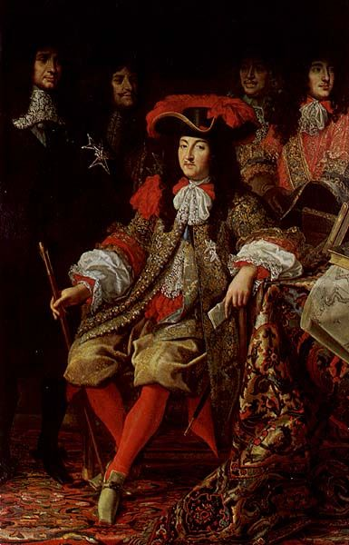 Louis XIV at the Académie de Sciences, 1666. Detail, Testelin. Note the ribbons at his breeches, shirt, cravat and on his right shoulder. French