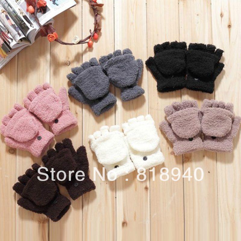 Women Half Finger Gloves Fold Over Winter Warm Mitten Mitt Cute Black/White/Gray 230