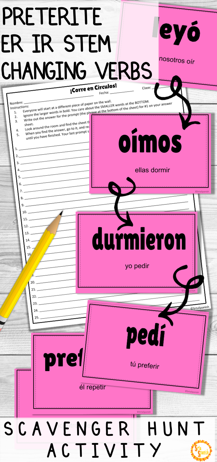 Looking For A Fun Game To Practice Irregular Preterite Er Ir Stem Changing Verbs With Your S Spanish Teacher Resources Spanish Lesson Plans High School Spanish [ 1530 x 720 Pixel ]