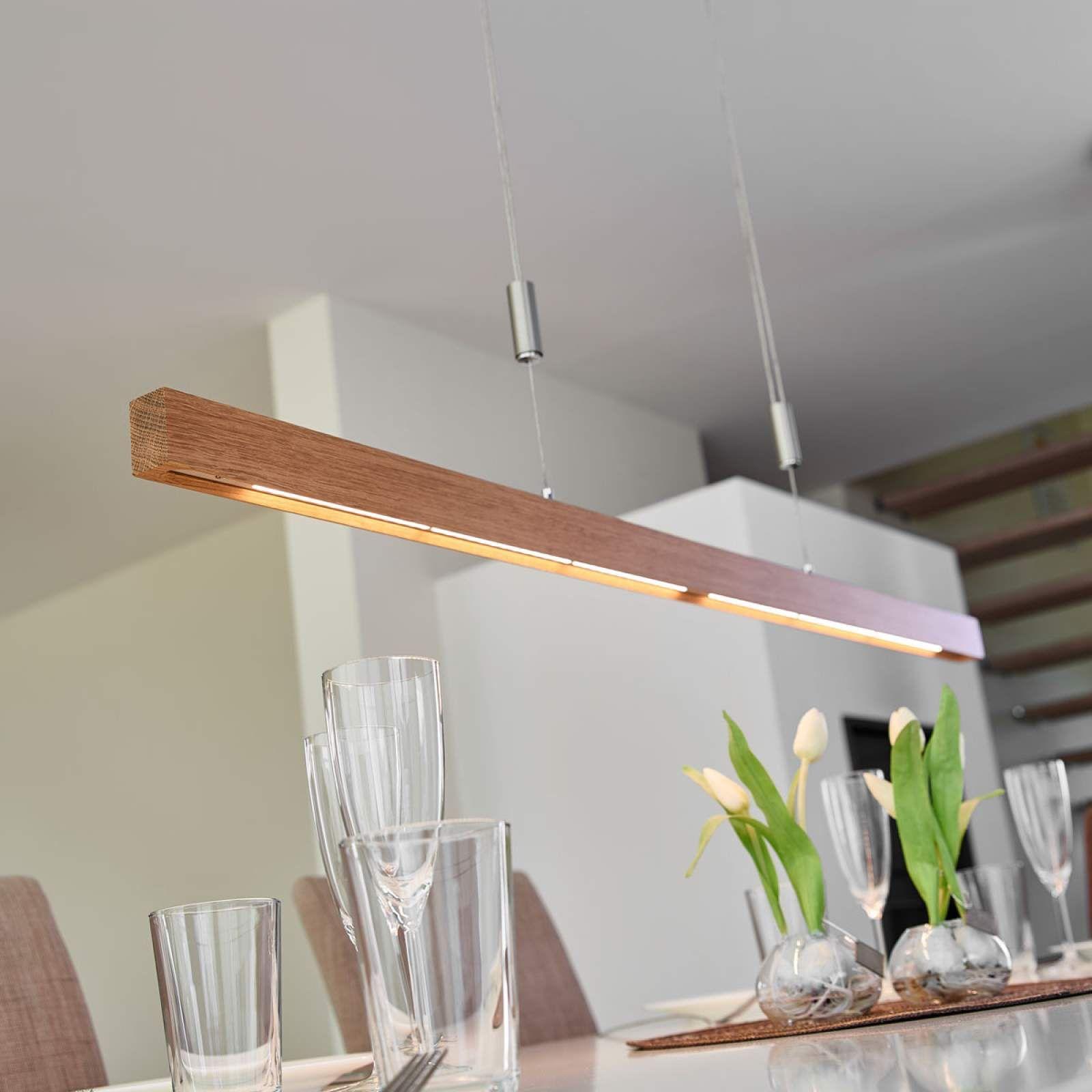 Eichenholz LED Balkenpendellampe Nora dimmbar | Eiche holz