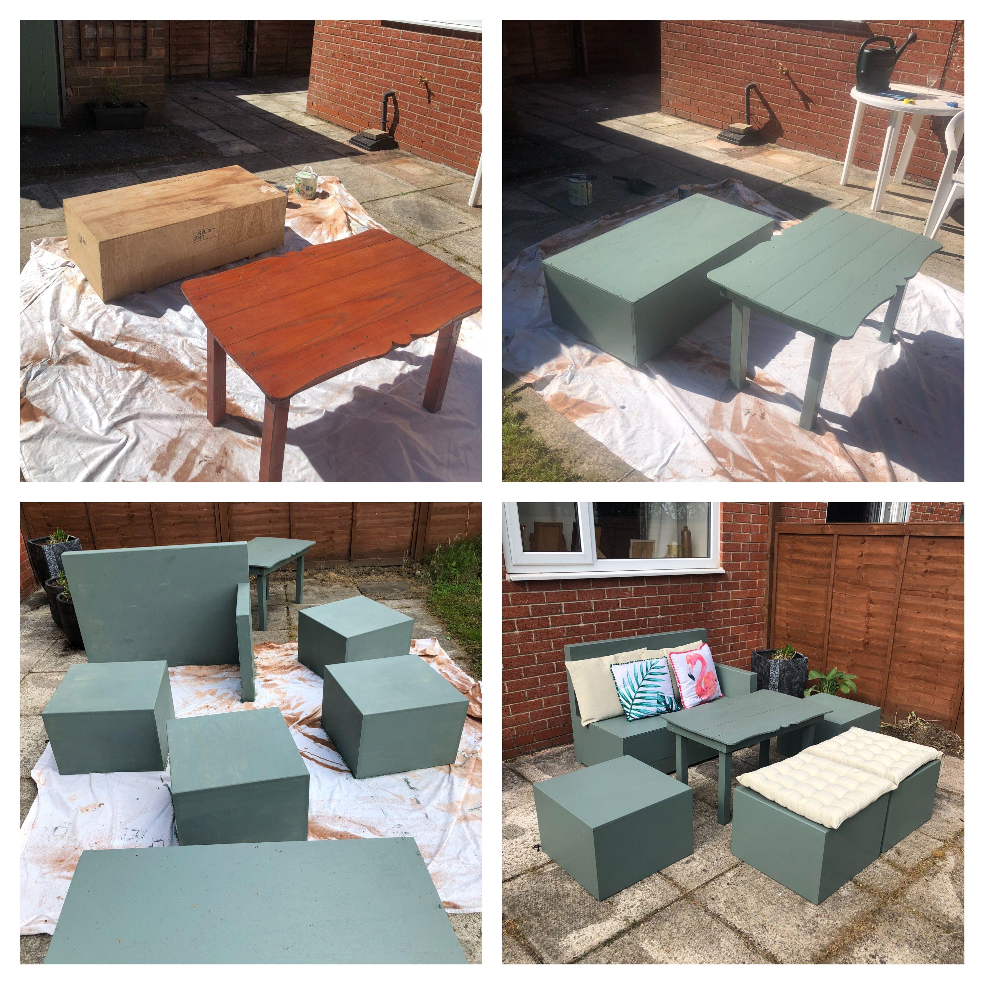 Upcycled garden furniture #Cuprinol #packingcrate #sagegreen