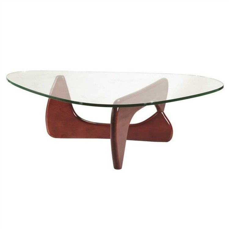 Noguchi Style Coffee Table Solid Wood Base Clear Glass Many Colors