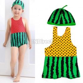 $8.00 New Cute Kids Boys Watermelon One-piece Swimming Suit Swimwear With Swimming Cap 5 Sizes