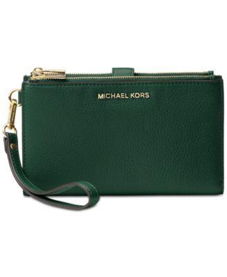 8e774f169f11 Michael Michael Kors Adele Double-Zip Pebble Leather Phone Wristlet -  Black Silver