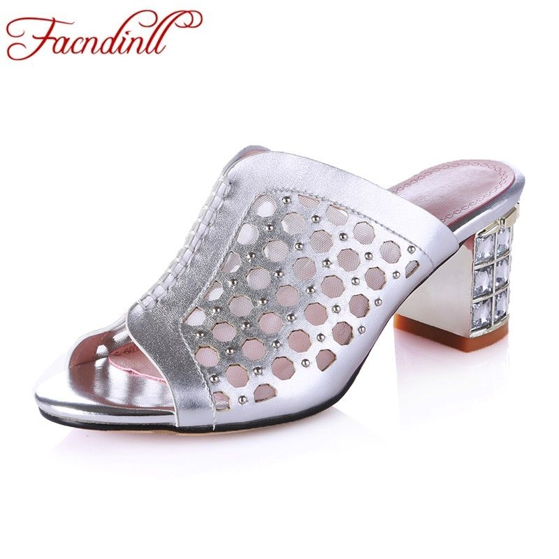 genuine leather summer women sandals new fashion good quality thick high heels peep toe rhinestone shoes woman dress party shoes