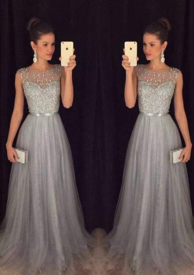 4e2ae2ad5ff4 A-line/Princess Bateau Sleeveless Long/Floor-Length Tulle Prom Dress With  Beading