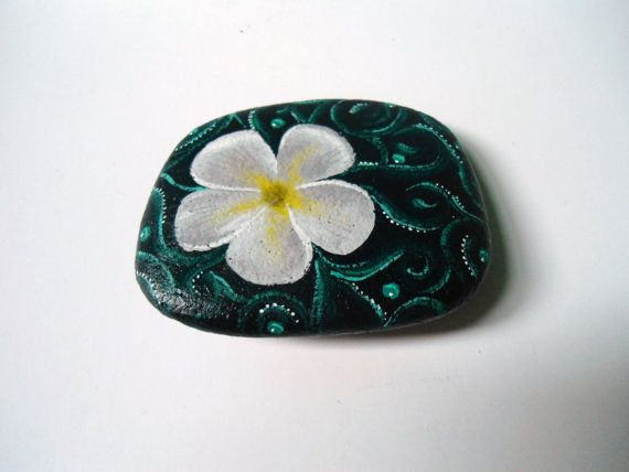 Flower Painted Rock Paperweight Office Decor Supply Home