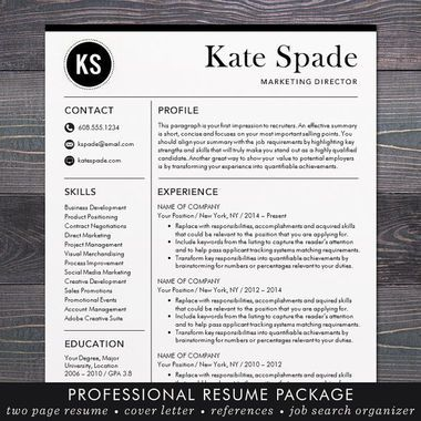 Kate Spade  Professional Resume Template Professional Resume And