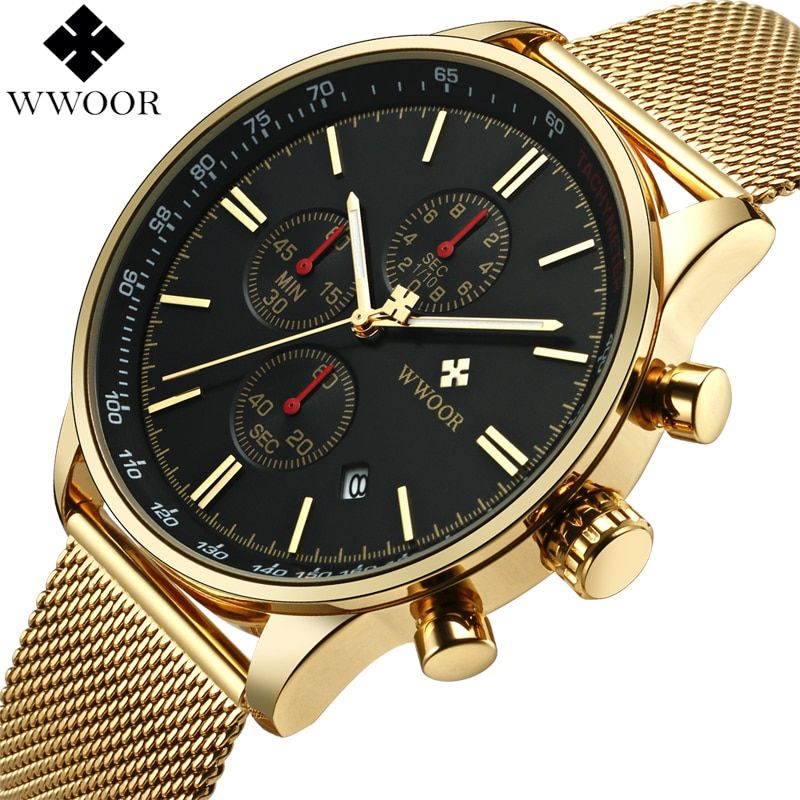 WWOOR Top Brand Luxury Mens Watches Business Chronograph