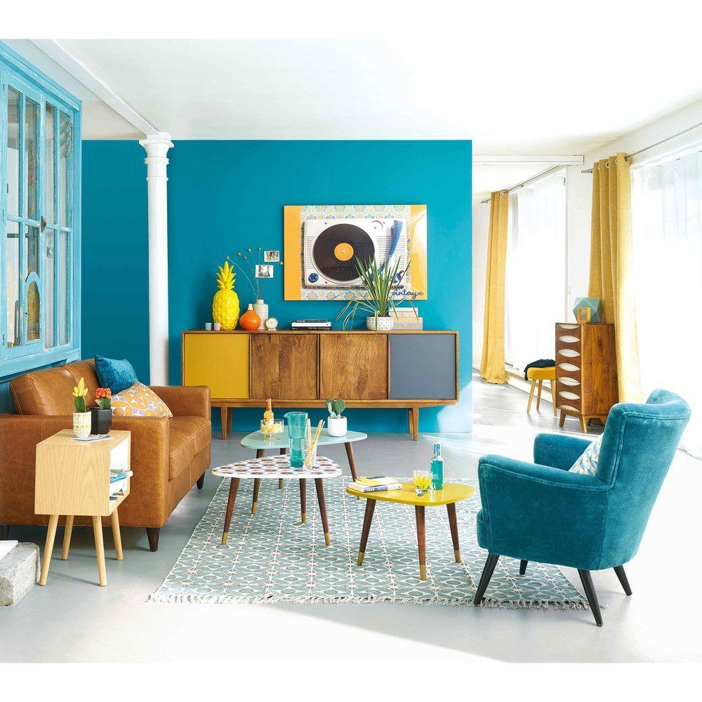 Anrichte Im Vintage Stil Aus Mangoholz Maisons Du Monde Anrichte Im Vintage Stil Aus In 2020 Retro Living Rooms Colourful Living Room Decor Vintage Living Room